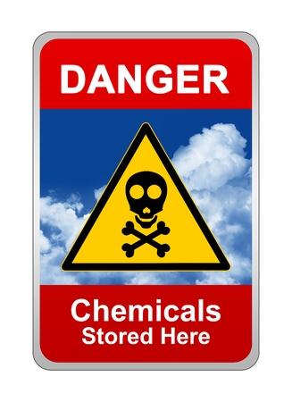 symbole chimique: Connexion Attention, danger des produits chimiques stock�s ici
