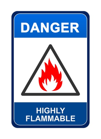 Blue Highly Flammable Danger Sign Isolated on White Background Stock Photo - 16711634