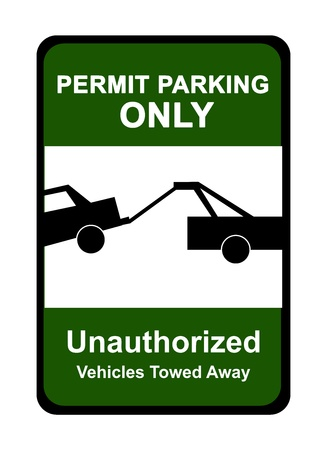 Green Permit Parking Only Sign Isolated on White Background  photo
