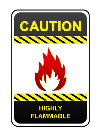 precaution: Highly Flammable Caution Sign Isolated on White Background