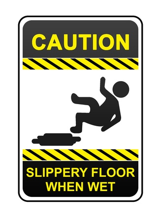 The Square Caution Sign With Text Caution Slippery Floor When Wet Sign Isolated on White Background Stock Photo - 16711656