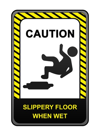 Square Black and Yellow Caution Sign With Text Caution Slippery Floor When Wet Sign Isolated on White Background  photo