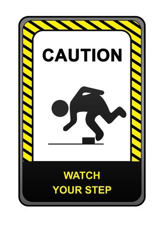 achtung schild: Square Black and Yellow Caution Sign mit der Meldung Achtung Watch Your Step auf wei�em Hintergrund