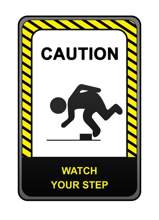 Square Black and Yellow Caution Sign With The Message Caution Watch Your Step Isolated on White Background  photo