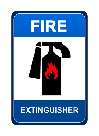 firealarm: The Blue Fire Extinguisher Sign Isolated on White Background