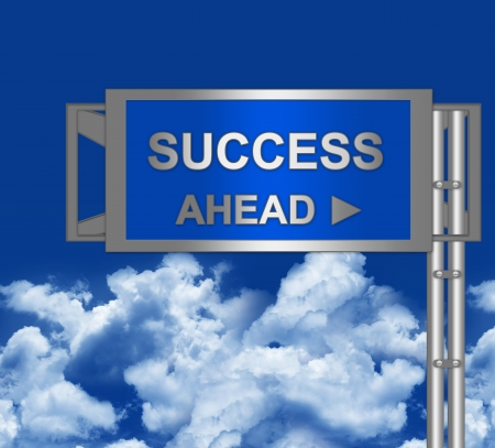 Success Ahead on Blue Highway Street Sign With Blue Sky Background  photo