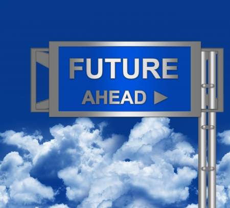 Futures Ahead on Blue Highway Street Sign Against Cloud and Blue Sky  photo