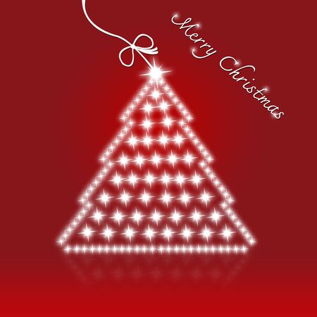 tree cutting: Red Merry Christmas Card With Christmas Tree