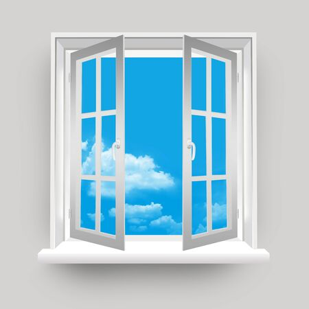 Open Window to Blue Sky Background  Stock Photo - 17404158
