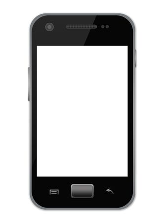The Black Smart Mobile Phone With Blank White Screen Isolate on White Background  Stock Photo - 17404152