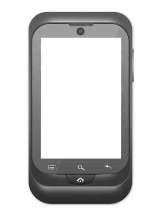 The Blank Screen Smart Phone With Metallic Style Isolate on White Background Stock Photo - 17404157