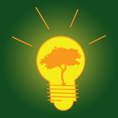 The Light Bulb With Tree Inside for Save The Earth or Stop Global Warming Campaign  photo