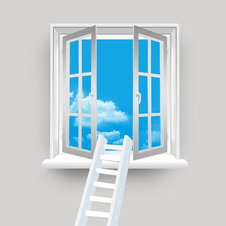 Ladder on Open Window to The Blue Sky Stock Photo - 17404191