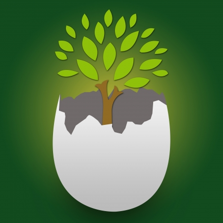 The Tree Inside The Broken Egg For Stop Global Warming or Save The Earth Concept With Green Glossy Background  photo