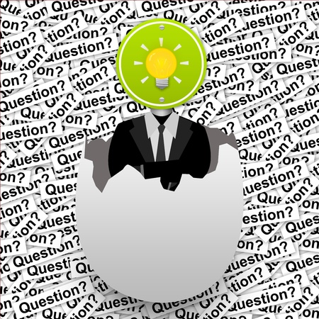 broken strategy: Inspiration Concept, The Yellow Light Bulb Road Sign Head Businessman in The Broken Egg Stand on Many Question Label Background  Stock Photo