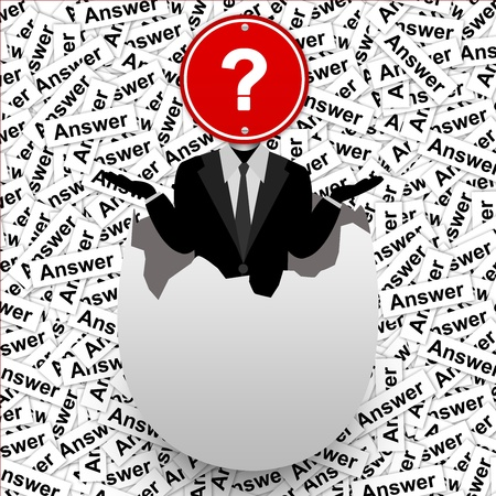 The Businessman Who Have Question Road Sign on Head Stand in The Broken Egg With Many Answer Label Background  photo