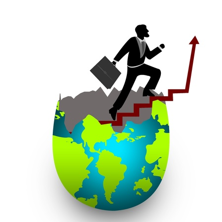 The Businessman Stepping Up a Stairway From Cracked Egg to The Top of The Arrow for Success Isolated on White Background Stock Photo - 17404167
