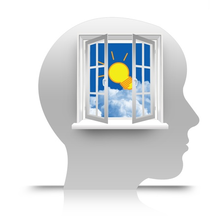 The Open Window to Blue Sky With The Light Bulb on The Head for Making Idea Concept photo