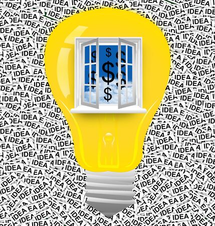 The Light Bulb With Open Window to Blue Sky and Dollar Sign Inside Over The Idea Label Background Stock Photo - 17404345