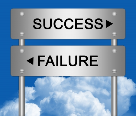 The Opposite Directions Between Success or Failure Traffic Sign With Metallic Style in Blue Sky Background  photo