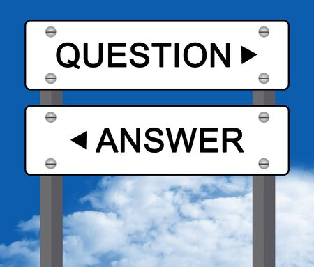 White Question or Answer Street Sign in Blue Sky Background Stock Photo - 17404295