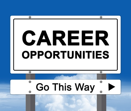 Career Opportunity, Go This Way Road Sign in Blue Sky Background  photo