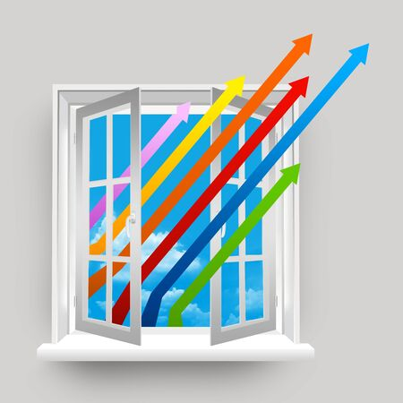 The Colorful Business Growth Arrow Through The Open Window  photo