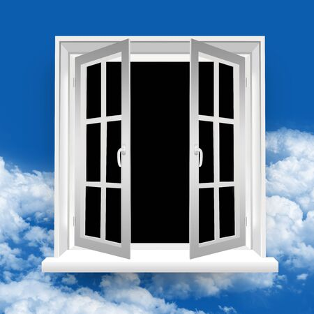 The Secret Open Window in Blue Sky Background  Stock Photo - 17404502