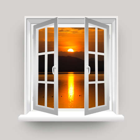 sihlouette: Open Window to The Lake View With Beautiful Sunset