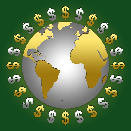 The Golden and Silver Dollar Sign Around The World With Green Glossy Style Background photo