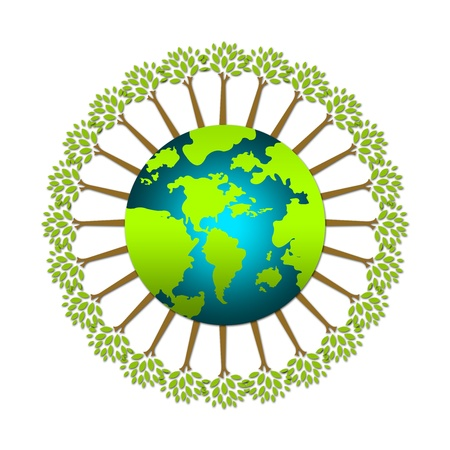 The Green Tree Stand Around The World For Save The Earth or Stop Global Warming Campaign Isolated on White Background Stock Photo - 17404486