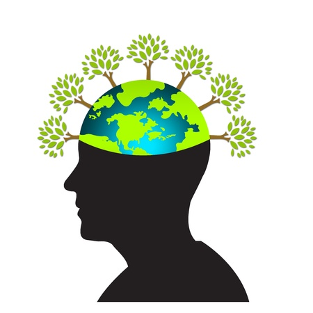 Think Green Idea Concept With Open Head Show The Earth as Brain and Many Tree as Hair Isolated on White Background  Stock Photo - 17404426
