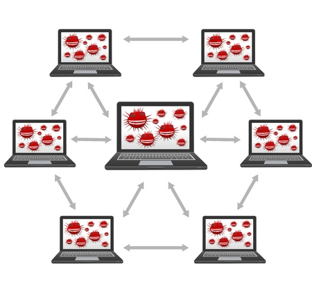 Computer Network Virus Concept Represented By The Computer Network With Many Laptop That Have Red Cyber Attacking Virus in Their Screen Isolated on White Background Stock Photo - 17404554