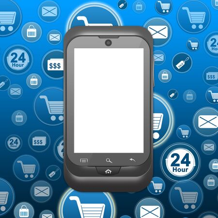 Online Shopping Concept With Blank Screen Mobile Phone and Online Shopping Icon Background Stock Photo - 17404587