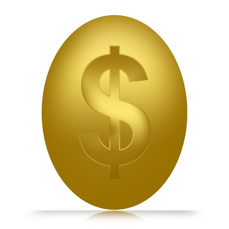 Golden Egg With Dollar Sign Inside Isolated on White Background Stock Photo - 17404357