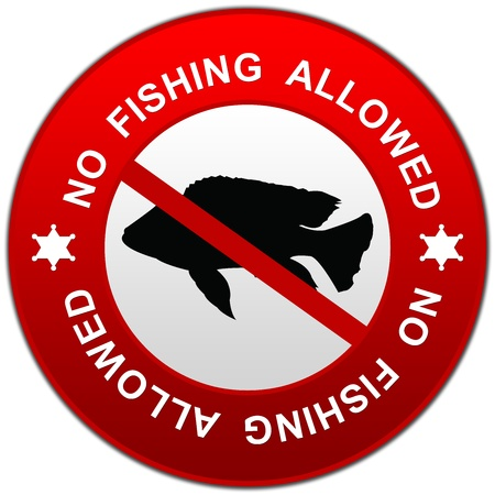 Circle Red Prohibited Sign, No Fishing Allowed on White Background Stock Photo - 17404364