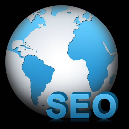 The Globe With 3D SEO for SEO  Search Engine Optimization   Concept Isolated on Black photo