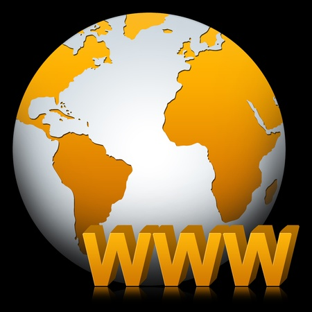 Internet Concept, Present By The Globe With 3D WWW Text Isolated on Black Stock Photo - 17404454