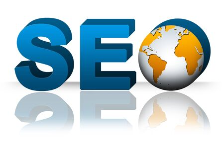 SEO  Search Engine Optimization   Concept, 3D SEO Text With Earth Isolated on White Background Stock Photo - 17404356