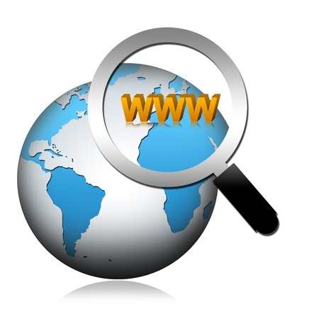 meta search: Internet Concept, The Globe Con Vetro ingrandimento e testo WWW isolati su sfondo bianco