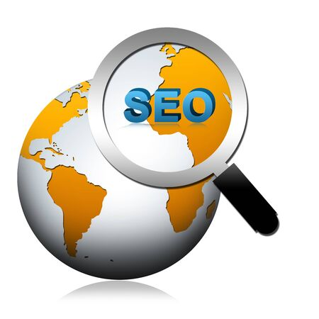 SEO Concept Present By The Globe With Magnify Glass and SEO Word Isolated on White Backgrou Stock Photo - 17404390