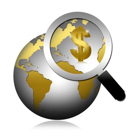 금속 스타일 지구에 황금 달러 기호에 돋보기를 가리키는 흰색 배경에 고립