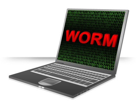 Computer And Internet Security Concept Present by Computer Laptop With Red 3D Worm Text In Green Binary Code Screen Stock Photo - 17404542