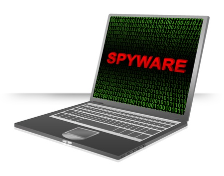 Computer And Internet Security Concept Present by Computer Laptop With Red 3D Spyware Text In Green Binary Code Screen  photo
