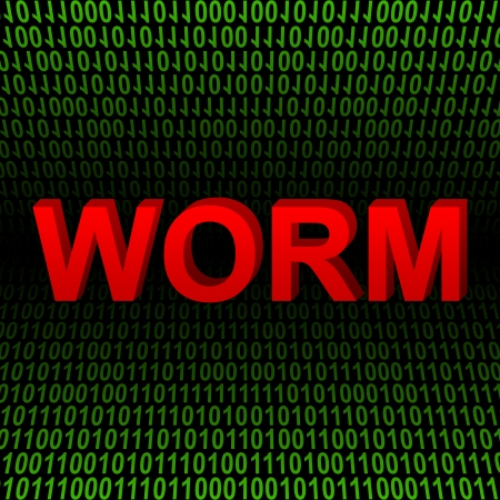 Computer And Internet Security Concept Present by Red 3D Worm Text In Green Binary Code Background  Stock Photo - 17404579