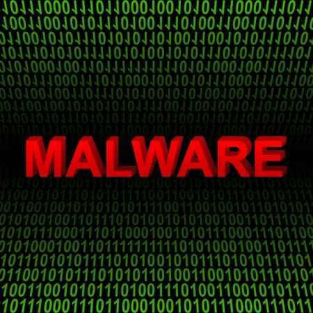 컴퓨터 및 녹색 이진 코드 배경에 빨간 3D 악성 코드 텍스트로 인터넷 보안 개념 선물