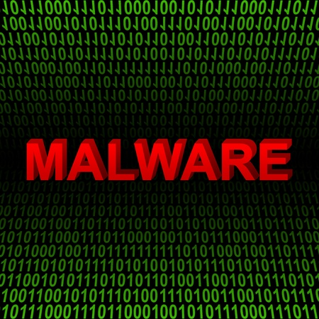 Computer And Internet Security Concept Present by Red 3D Malware Text In Green Binary Code Background