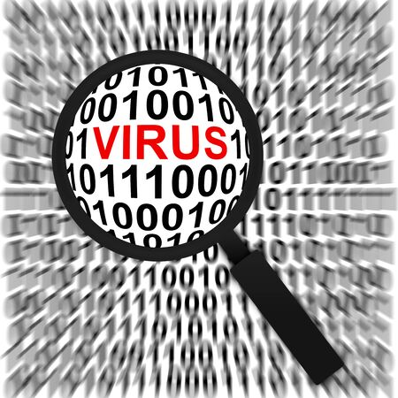 Computer Security Concept Present by Magnifying Glass Focus On The Red Virus Text in Binary Code Background Stock Photo - 17404626