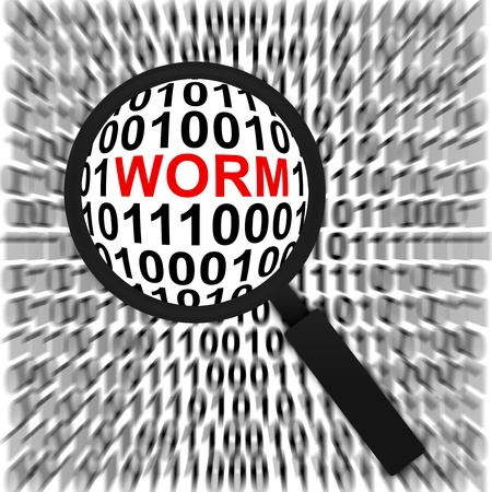 Computer Security Concept Present by Magnifying Glass Focus On The Red Worm Text in Binary Code Background Stock Photo - 17404628