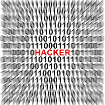 Computer Security Concept Present by Binary Code Around The Red Hacker Text  Stock Photo - 17404661